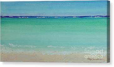 Turquoise Waters Long Abstract Canvas Print by Robyn Saunders
