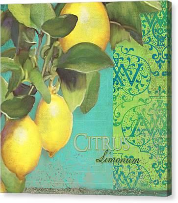 Tuscan Lemon Tree - Citrus Limonum Damask Canvas Print by Audrey Jeanne Roberts