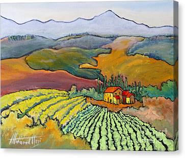 Tuscan Vineyard Canvas Print by Mohamed Hirji