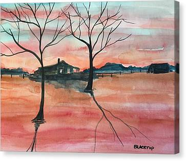 T V A  Flooding The Valley Canvas Print by Ken  Blacktop  Gentle