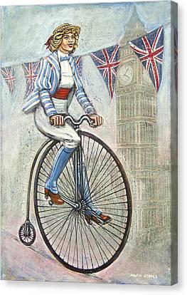Tweed Run Lady In Blue On Penny Farthing  Canvas Print by Mark Howard Jones