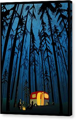 Twilight Camping Canvas Print by Sassan Filsoof
