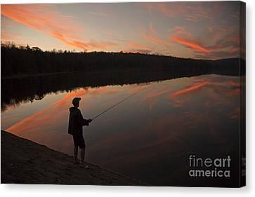 Twilight Fishing Delight Canvas Print by John Stephens