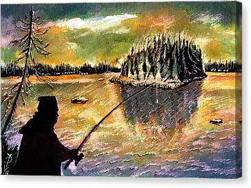 Twilight Fishing In August Canvas Print by Ion vincent DAnu