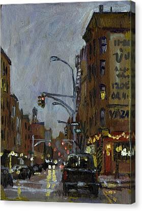 Twilight On 7th And Avenue B Vazac Bar Nyc Canvas Print by Thor Wickstrom