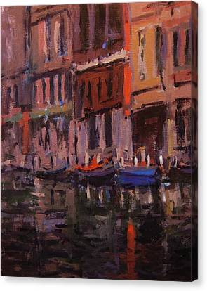 Twilight On The Canal Canvas Print by R W Goetting