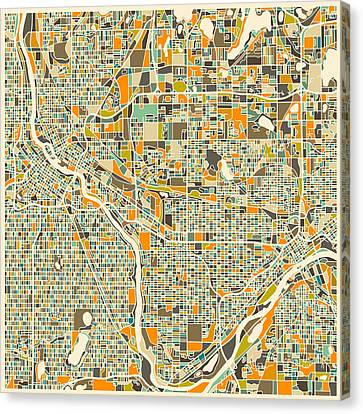 Twin Cities Canvas Print by Jazzberry Blue