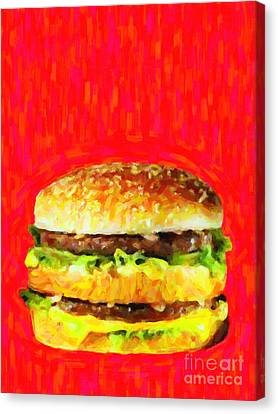 Two All Beef Patties Canvas Print by Wingsdomain Art and Photography