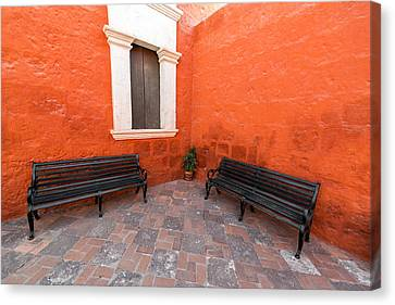 Two Benches In A Monastery Canvas Print by Jess Kraft