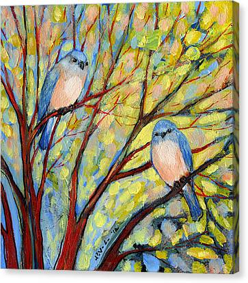 Two Bluebirds Canvas Print by Jennifer Lommers