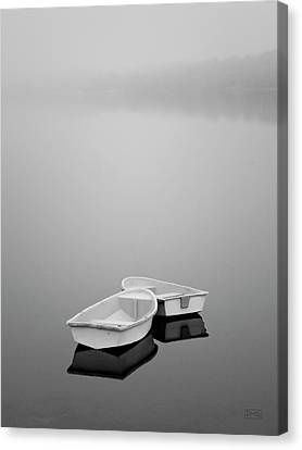 Two Boats And Fog Canvas Print by Dave Gordon