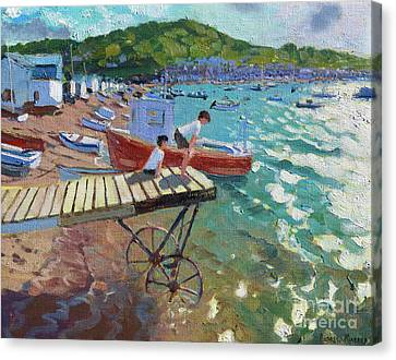 Two Boys On The Landing Stage, Teignmouth Canvas Print by Andrew Macara