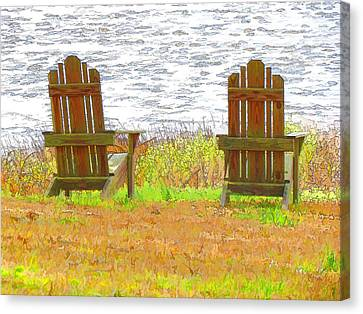Two Chairs Facing The Lake Canvas Print by Lanjee Chee
