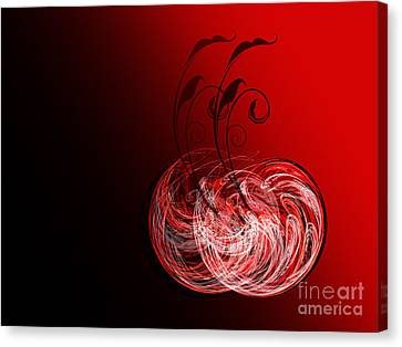 Two Cheery Cherries Canvas Print by Andee Design