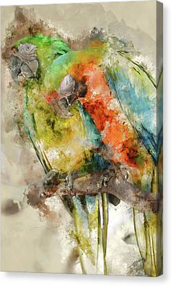 Two Colorful Macaws Digital Watercolor On Photograph Canvas Print by Brandon Bourdages