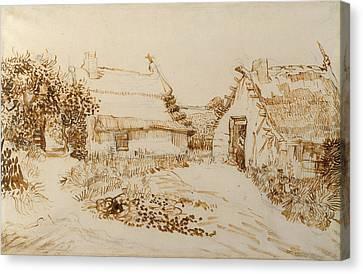Two Cottages At Saintes Maries De La Mer Canvas Print by Vincent van Gogh