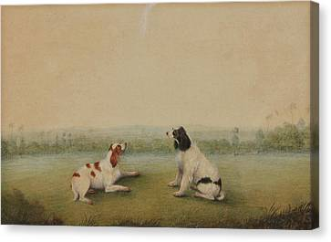 Two Dogs In A Landscape Canvas Print by Shaykh Muhammad