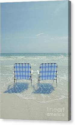 Two Empty Beach Chairs Canvas Print by Edward Fielding