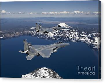 Two F-15 Eagles Fly Over Crater Lake Canvas Print by HIGH-G Productions