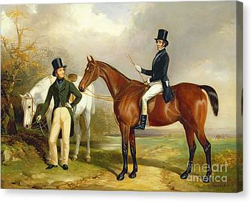 Two Gentlemen Out Hunting  Canvas Print by Henry Barraud