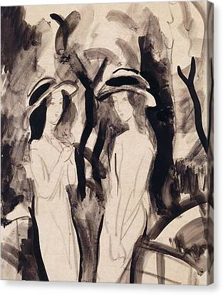 Two Girls Canvas Print by August Macke