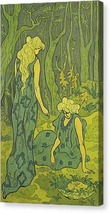 Two Girls Next To The Head Of Orpheus Canvas Print by Paul Ranson