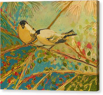 Two Goldfinch Found Canvas Print by Jennifer Lommers