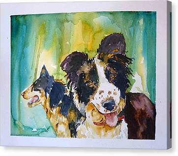 Two Good Cowdogs Canvas Print by P Maure Bausch