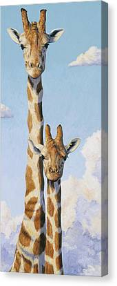 Two Heads In The Clouds Canvas Print by Lucie Bilodeau