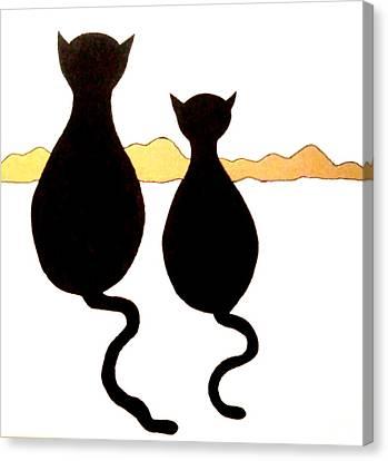 Two Kitties Canvas Print by Beth Akerman