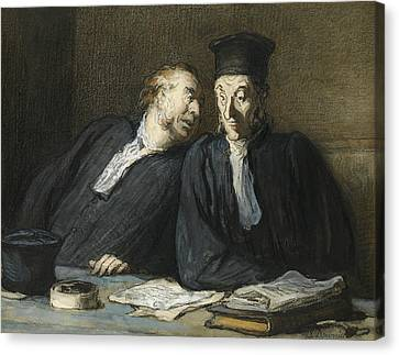 Two Lawyers Conversing Canvas Print by Honore Daumier