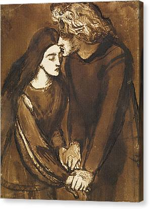 Two Lovers Canvas Print by Dante Gabriel Rossetti