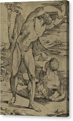 Two Nude Men  One Standing, One Reclining Canvas Print by Domenico Beccafumi