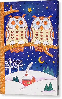 Two Owls On A Branch Canvas Print by Cathy Baxter