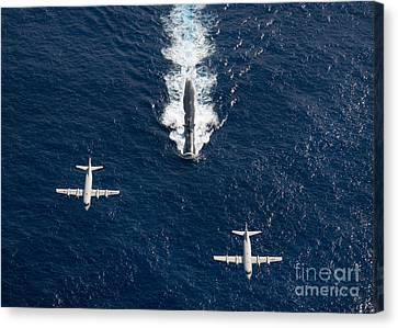 Two P-3 Orion Maritime Surveillance Canvas Print by Stocktrek Images