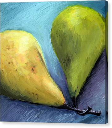 Two Pears Still Life Canvas Print by Michelle Calkins