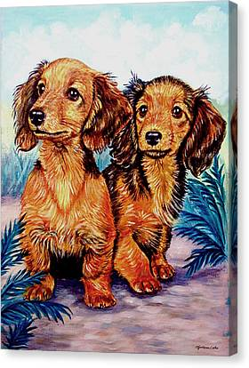 Two Peas In A Pod - Dachshund Canvas Print by Lyn Cook