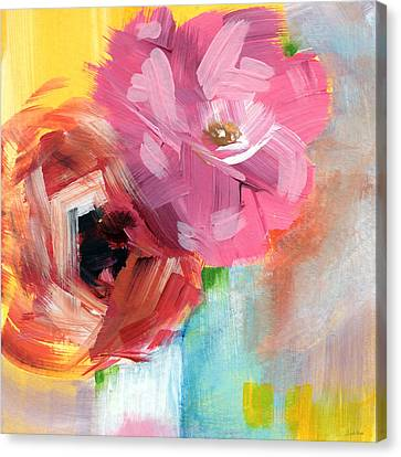 Two Roses- Art By Linda Woods Canvas Print by Linda Woods