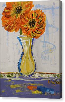 Two Sunshine Flowers Canvas Print by Mary Carol Williams