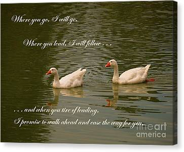 Two Swans - Marriage Vows Canvas Print by Yali Shi