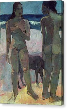 Two Tahitian Women On The Beach Canvas Print by Paul Gauguin