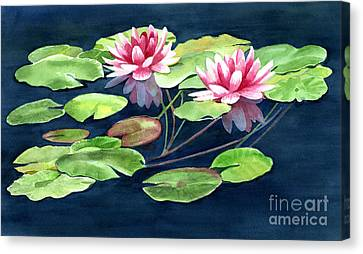 Two Water Lilies With Pads Canvas Print by Sharon Freeman