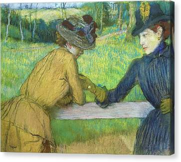 Two Women Leaning On A Gate Canvas Print by Edgar Degas