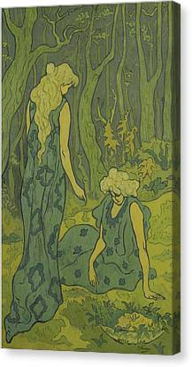 Two Young Women Beside The Head Of Orpheus Canvas Print by Paul Elie Ranson
