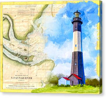 Tybee Island Light - Vintage Nautical Map Canvas Print by Mark Tisdale