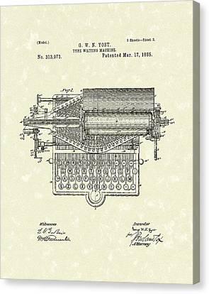Type Writer 1885 Patent Art Canvas Print by Prior Art Design