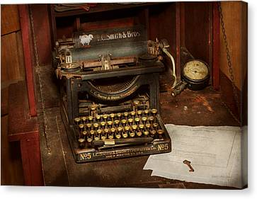 Typewriter - My Bosses Office Canvas Print by Mike Savad