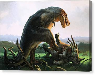 Tyrannosaurus Rex Eating A Styracosaurus Canvas Print by William Francis Phillipps
