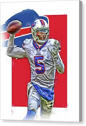 Tyrod Taylor Buffalo Bills Oil Art 2 Canvas Print by Joe Hamilton