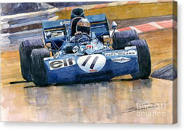 Tyrrell Ford 003 Jackie Stewart 1971 French Gp Canvas Print by Yuriy  Shevchuk